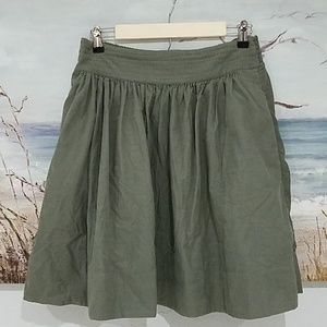 ANTHRO EDME & ESYLLTE OLIVE GREEN SKIRT